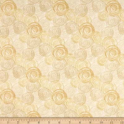 "108"" Flannel Textured Circles Ivory"