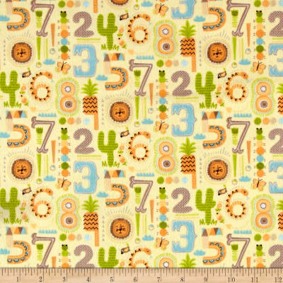 Zoovenirs Flannel Numbers Yellow