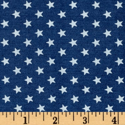 Telio Stretch Printed Denim White Stars Medium Blue