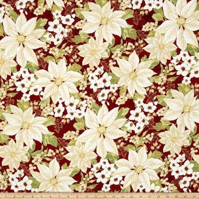 Winter Blossom Metallic Winter Floral Scarlet/Gold