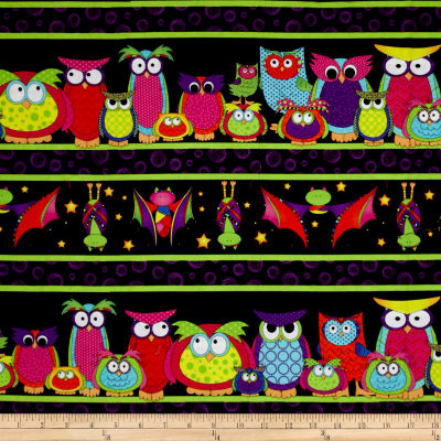Happy Owl-O-Ween Parliament Of Owls Border Stripe Bat Black