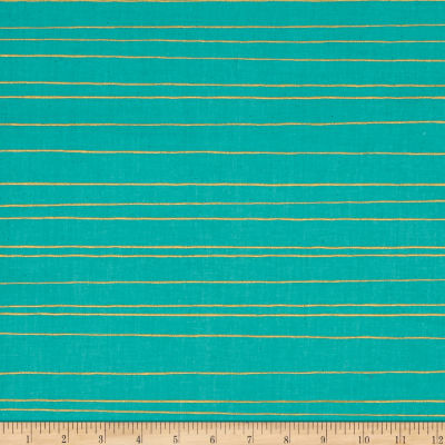 Cotton + Steel Noel Metallic Gold Stripe Aqua
