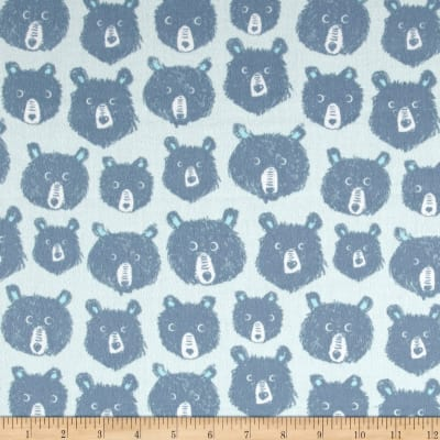 Cotton + Steel Brushed Cotton Cozy Teddy And the Bears Blue