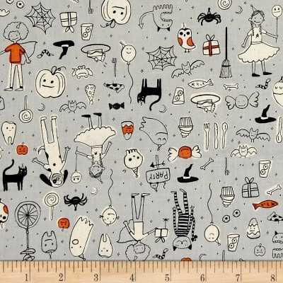 Cotton + Steel Lil' Monsters Party Grey