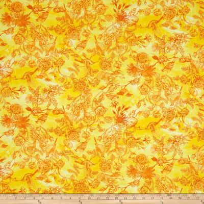 Timeless Treasures Petal Party Bird Toile Citrus