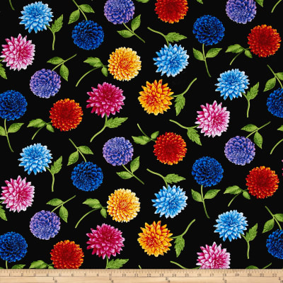 Timeless Treasures Petal Party Tossed Dahlia Black