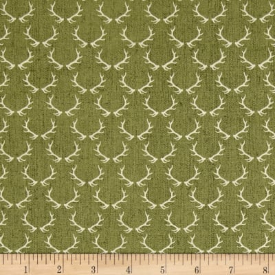 Timeless Treasures Wilderness Antlers Green