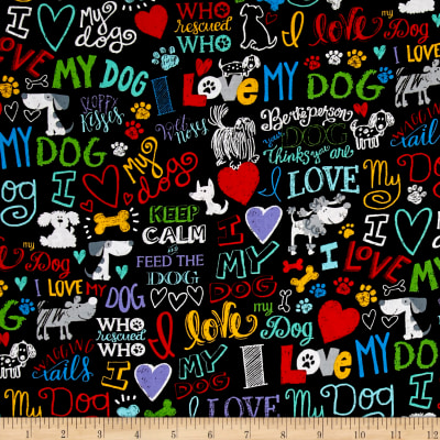Timeless Treasures I Love My Dog Words Black Discount
