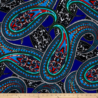 Liverpool Double Knit Paisley Blue/Green/Orange/White