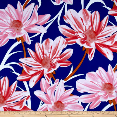 Liverpool Double Knit Floral Blue/White/Pink/Red