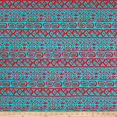 Peachskin Prints Tribal Jade/Coral