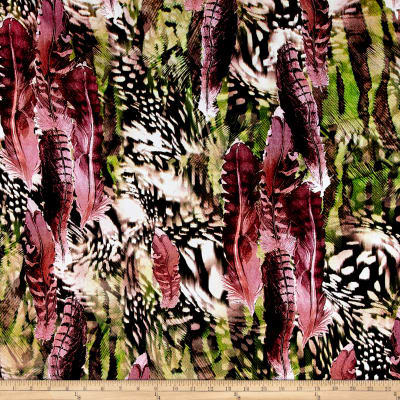Crepe De Chine Abstract Feathers Hot Pink/Taupe/Green