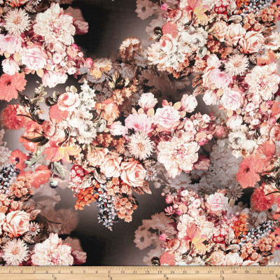 Telio Digital Printed Linen Floral Brown/Coral