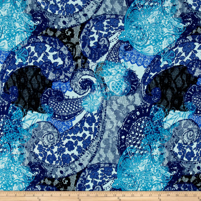 Brushed Hatchi Sweater Knit Paisley Blue
