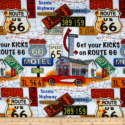 Jean Poult American Dream Route 66 Scenice Lt. Blue
