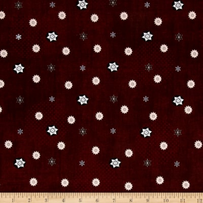 Icy Winter Silver Metallic Small Snowflakes Burgundy