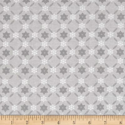 Icy Winter Silver Metallic Snowflake Stripe Gray