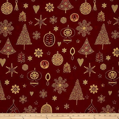 Magical Moments Gold Metallic Trees, Snowflakes & Ornaments Red