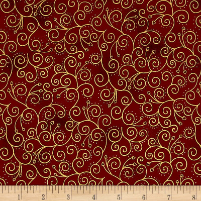Magical Moments Gold Metallic Viney Design Red