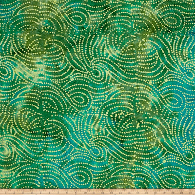 Merrivale Indian Batiks Wavy Dots Green Multi