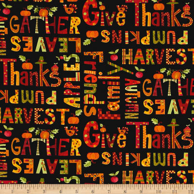 Art By Bernie Give Thanks Words Black