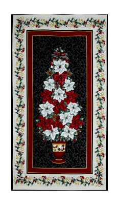 """Holiday Trimmings Poinsettia Tree 23"""" Panel Black"""
