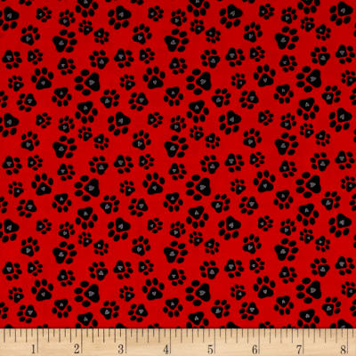 Must Love Dogs Paw Prints With Hearts Red