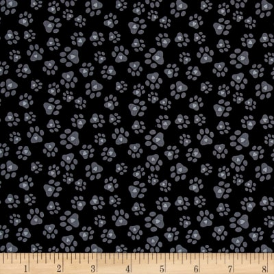 Must Love Dogs Paw Prints With Hearts Black