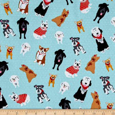 Must Love Dogs Dogs On Dots Aqua