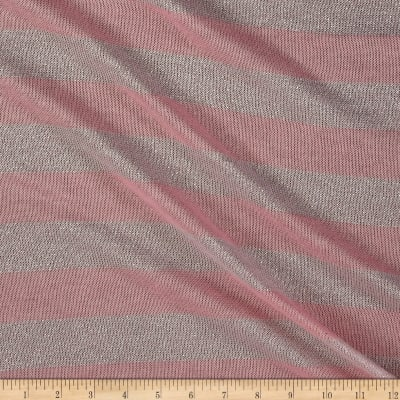 Sweater Knit Silver Lurex Stripes Pink
