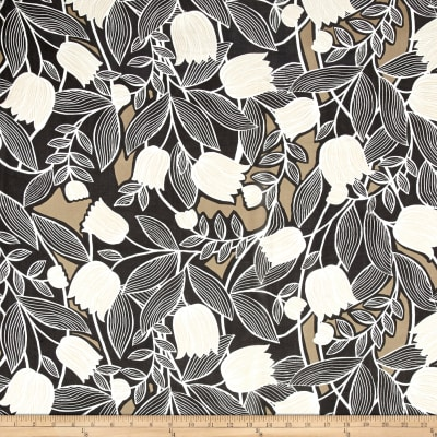 Floral Silk Chiffon Tulips Black/Taupe