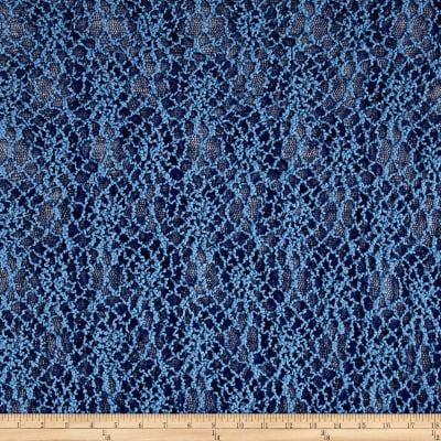 Bohemian Lace Stretch Abstract Sky Blue/Navy