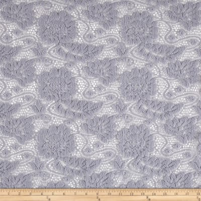 Lace Floral Chenille Textured Gray