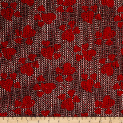 Stretch Lacey Sweater Knit Hearts Red/Black
