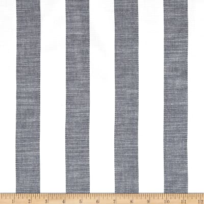 Cotton Shirting Large Stripe Grey/White