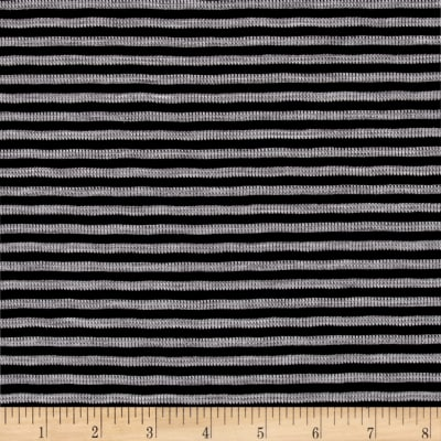 Textured Rayon Sweater Knit Small Stripe Black/Grey
