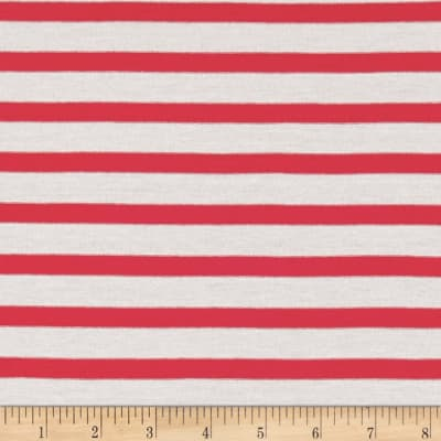 Jersey Knit Wide Stripe Red/White