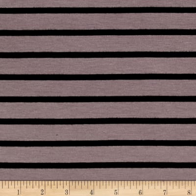 Rayon Jersey Knit Stripe Black/Purple