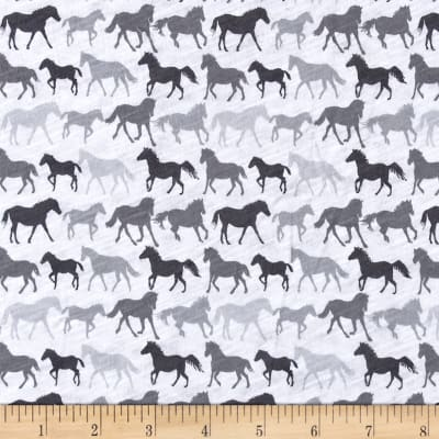 Jersey Knit Horses White/Grey/Charcoal
