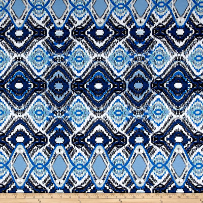 Rayon Jersey Knit Abstract Ikat Blue/White/Navy