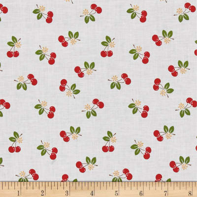 Riley Blake Sew Cherry 2 Cherry White