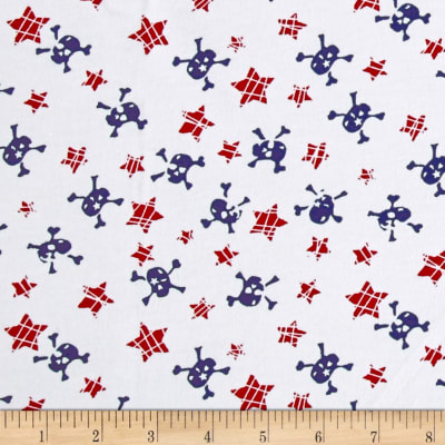 Fabric Merchants Cotton Jersey Knit Stars and Skulls Red/Navy