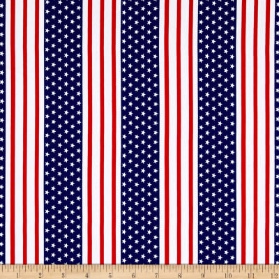 Cotton Jersey Knit American Stars and Stripes