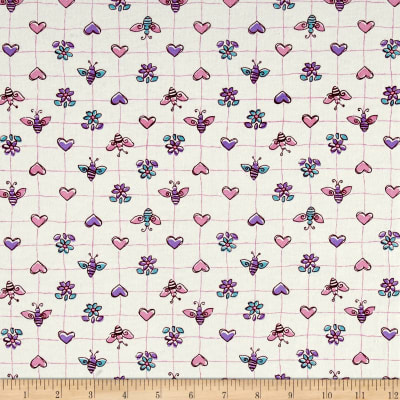 Cotton Jersey Knit Bees Hearts Flowers Pink/Purple