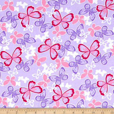 Cotton Jersey Knit Butterflies Purple/Pink/White