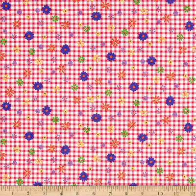 Cotton Jersey Knit Garden Flowers on Gingham Pink/Blue/Fuschia