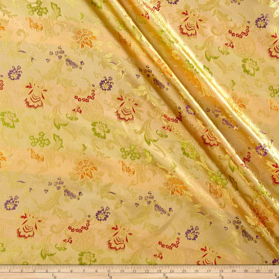 Chinese Brocade Floral Gold/Purple/Red