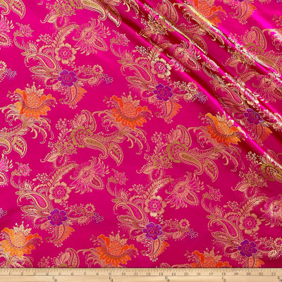 Chinese Brocade Floral Fuchsia/Gold