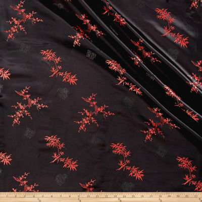 Chinese Brocade Bamboo & Floral Black/Red