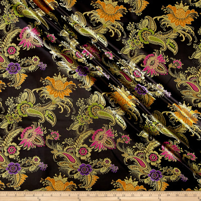 Chinese Brocade Floral Black/Gold/Purple